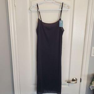 NWT Silky Black Slip Dress